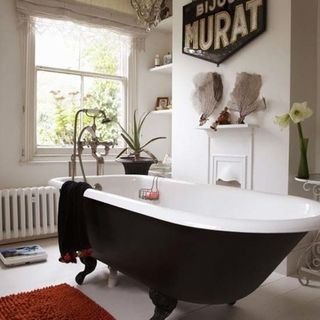 We Ended Up Using A Less Expensive But Lovely Clawfoot Tub With A White  Underside And Had The Painter Paint It And The Legs Black.